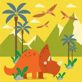 prehistory drawing dinosaur icons multicolored sketch