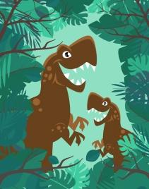 prehistory drawing fierce dinosaur green jungle icons