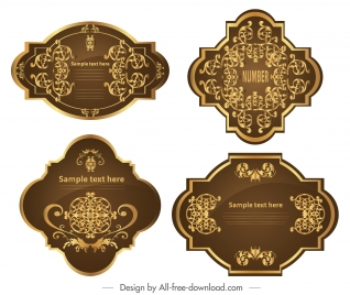 premier label templates elegant classic symmetric brown golden