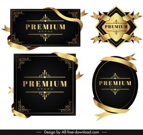 premium design templates elegant black golden ribbon labels