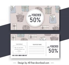 present voucher templates retro design flat handdrawn giftbox