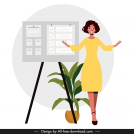 presentation work background office lady sticker board sketch