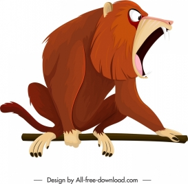 primate icon cynocephalus species sketch cartoon design