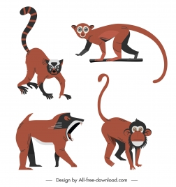 primate species icons colored cartoon character sketch
