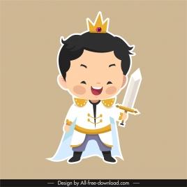 prince icon funny boy sword sketch cartoon character