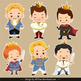 prince icons cute tiny boys sketch cartoon characters