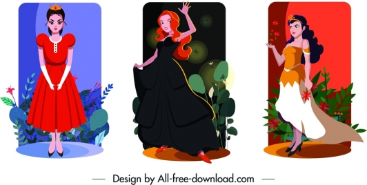 princess card templates colored cartoon characters decor