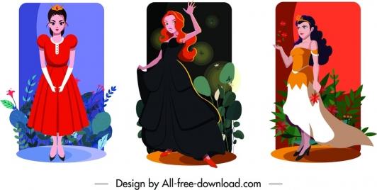 princess card templates colored cartoon characters decor