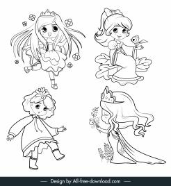 princess icons cute girl sketch handdrawn cartoon