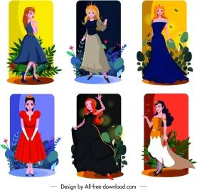 princess icons templates cute cartoon characters