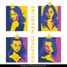 princess icons woman portrait cartoon character classic design