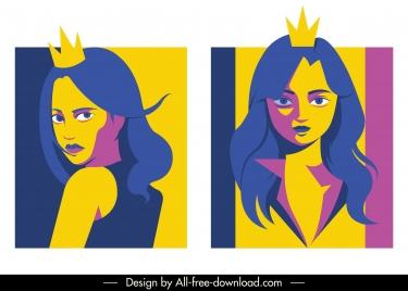 princess portrait avatar colored cartoon character sketch