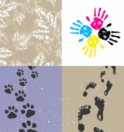 print marks background sets leaf hand foot icons