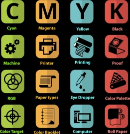 printer signs collection colored squares isolation