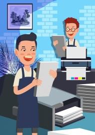 printing work drawing man printer icons colored cartoon