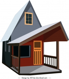 private house template sharpened roof colored 3d sketch