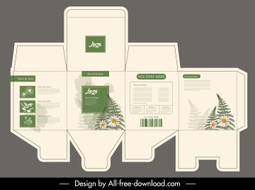 product packaging template elegant classic plants decor