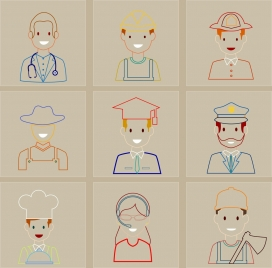 profession icons outline flat colored isolation
