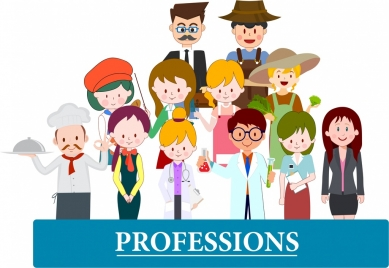 professions banner human icons colored cartoon characters