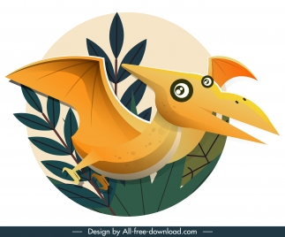 pteranodon dinosaur icon classic flat colored sketch