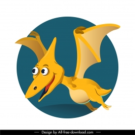pteranodon dinosaur icon funny cartoon character design
