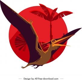 pteranodon dinosaur painting dark colored cartoon sketch