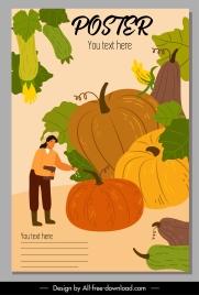 pumpkin crop advertising poster classic cartoon sketch