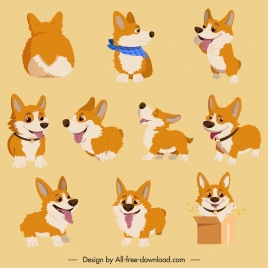 puppies icons collection cute colored cartoon design