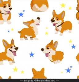 puppy pattern cute cartoon sketch colorful repeating design