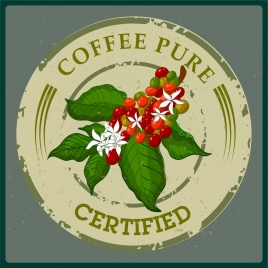 pure coffee stamp template flowers decor green design
