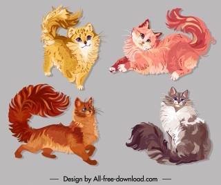 pussy cat icons colored cute sketch handdrawn design