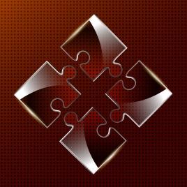 puzzle joints background shiny transparent icons decoration