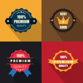 quality assurance badges icons colorful circles shapes isolation