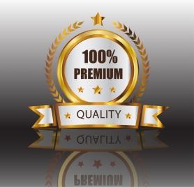 quality assurance label shiny golden decor 3d design