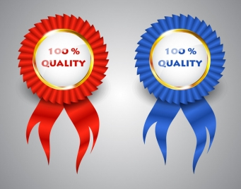 quality assurance round label sets with ribbon