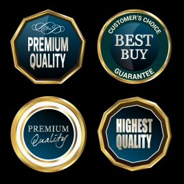 quality certification cycle icons with golden border
