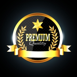 quality certification icon with golden decoration on darkness