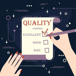 quality control banner checklist writing hands icons