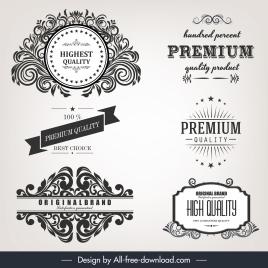 quality identity label templates elegant retro calligraphic decor