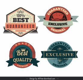 quality label templates colored retro shapes decor