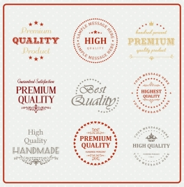 quality labels collection classical calligraphic stars texts decor