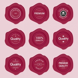 quality promotion seals collection red circles design