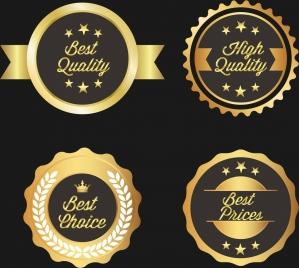 quality warranty badges shiny golden circles design