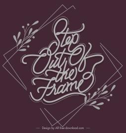 quote banner dark retro design calligraphic decor