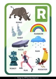 r alphabet educational template colorful emblems sketch