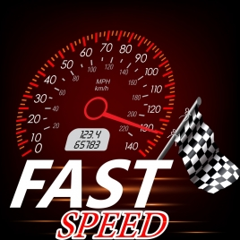 race advertisement speedometer flag icons decoration