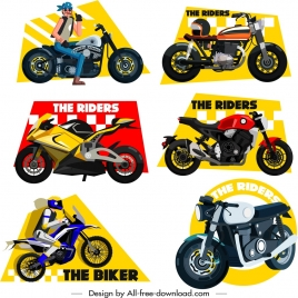 race design elements rider motorbike icons sketch