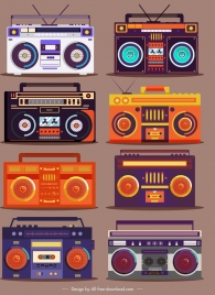 radio icons colorful vintage sketch