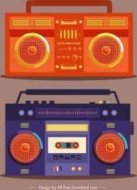 radio icons vintage design dark orange violet decor