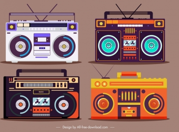radio models icons classical colorful sketch